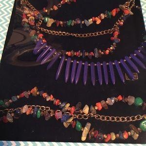 Purple Mult-colored 3 piece Bella Perlina necklace